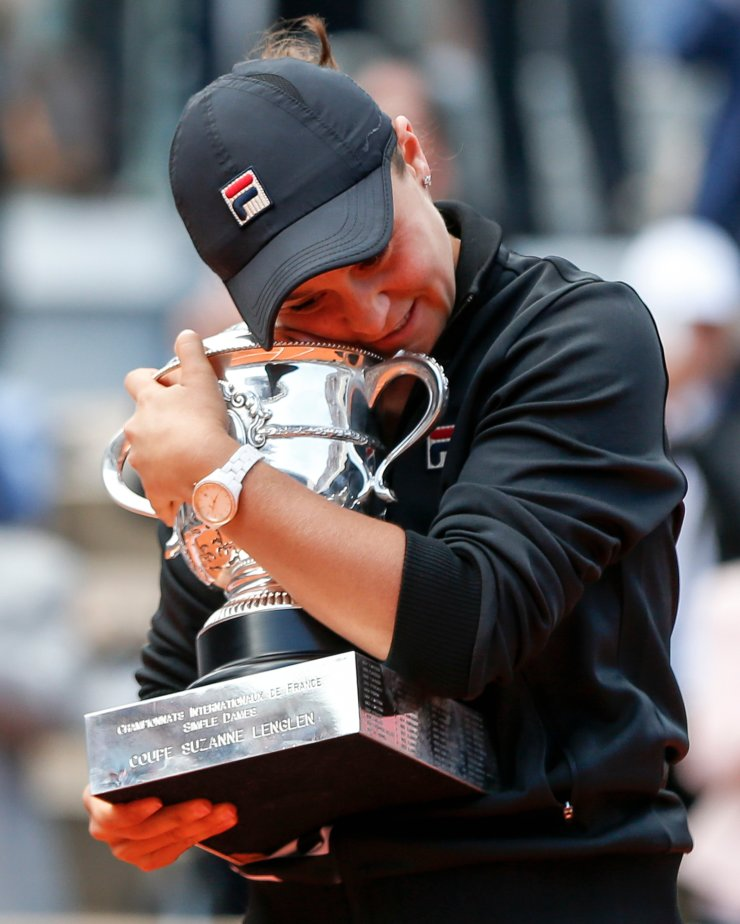 Ashleigh Barty of Australia celebrates with her trophy after the women's singles final with Marketa Vondrousova of the Czech Republic at French Open tennis tournament 2019 at Roland Garros, in Paris, France on Jun. 8, 2019. Xinhua