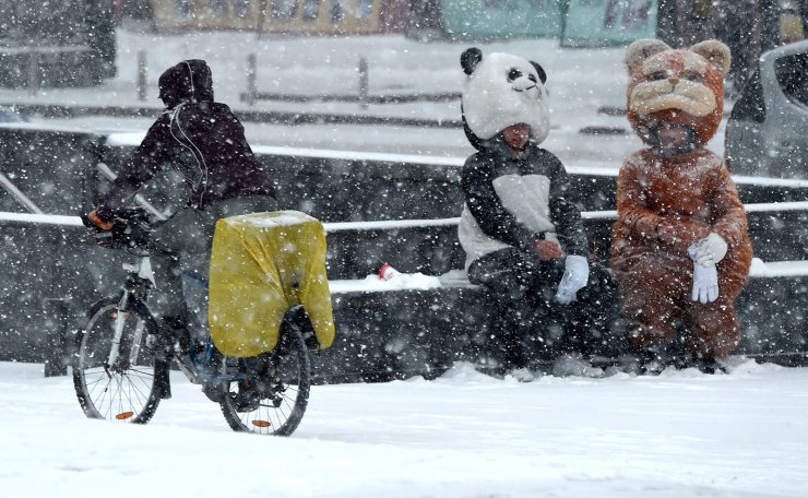 A cyslist rides past people wearing animal costumes during heavy snowfall, the first in the autumn, in the centre Kiev on November 14, 2018. AFP