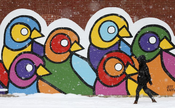 'The snow is just beautiful, ' said Xioqing Qin, who walks to work in the snow passing a mural painted on the exterior wall of the Atomic Cowboy bar and restaurant on Thursday, Nov. 15, 2018, in St. Louis. AP
