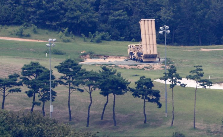 One Terminal High Altitude Area Defense (THAAD) launcher stands in Seongju, North Gyeongsang Province, in this July 29 photo. / Photo by Yonhap
