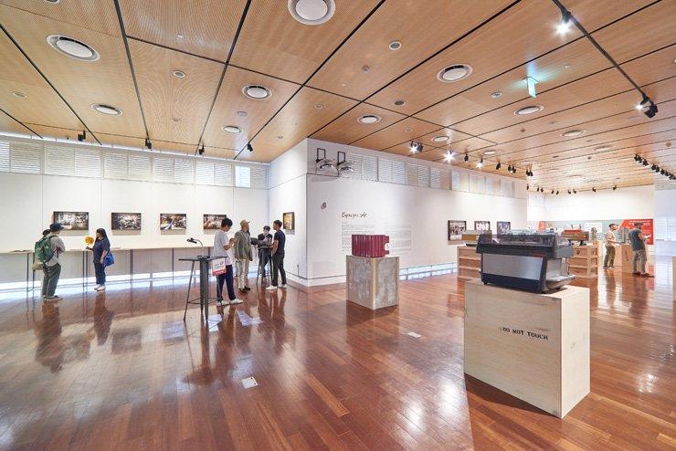 Antique Italian espresso machines are displayed at the 'Espresso Design' exhibition at KF Gallery in Jung-gu, Seoul. / Courtesy of Korea Foundation