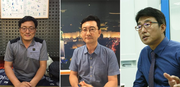 Cho Seung-ho, left, and Hyun Duk-soo, center, in separate interviews with The Korea Times.  / Korea Times Photo by You Soo-sun.  Roh Jong-myun, right. / Courtesy of YTN Labor Union