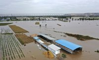 Flooding sends bus into river in China; 120,000 evacuated