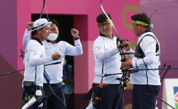 Korea wins 2nd consecutive gold in archery men's team event