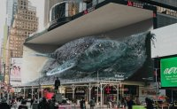 Immersive whale and waterfall media art to appear in New York's Times Square