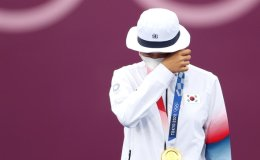 What pressure? Archer An San makes history with gold medal hat trick in Olympic debut