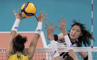 Korea loses to Brazil, falls to bronze medal match in women's volleyball