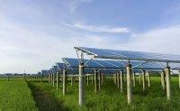 Solar panel construction turns stream blue in Bonghwa