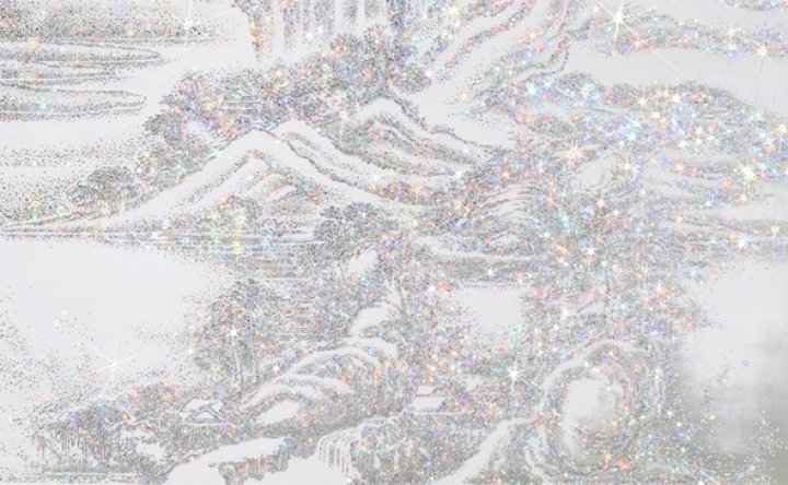 Korean traditional landscape encrusted with Swarovski crystals on view in New York