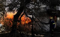 Villagers evacuated as forest fire spreads near Athens