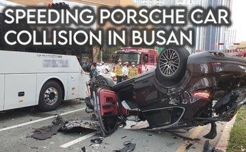 Speeding Porsche crashes into Grandeur sedan, causing seven vehicle collision in Busan [VIDEO]